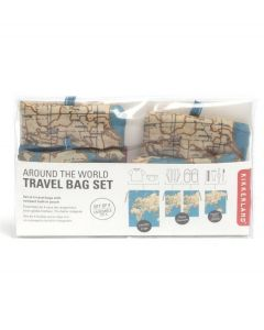 Kikkerland set van 4 reistasjes Travel bag Maps - 108377