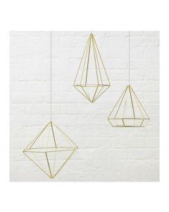 Umbra set van 6 wanddecoraties Prisma metaal - Messing - 103765