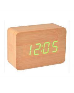 La Chaise Longue digitale wekker hout - Naturel hout met groen led - 103964