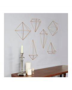 Umbra set van 6 wanddecoraties Prisma metaal - Koper - 103948