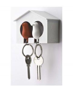 Qualy sleutelhouder vogelhuisje Sparrow Couple - Wit - Rood - 101011