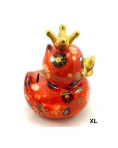 Pomme Pidou spaarpot eend Ducky XL - Oranjerood met bloemen - 102629