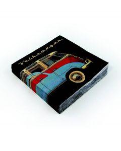 Brisa Set van 20 servetten Volkswagen - Zwart met rood / blauwe bus - 104896