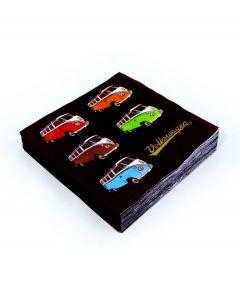 Brisa Set van 20 servetten Volkswagen - Gekleurde bussen - 104898