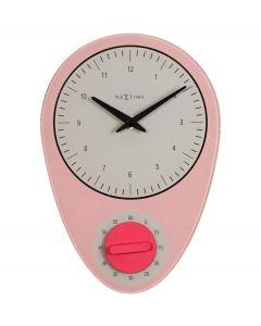 Nextime wandklok met timer Hans glas - Roze - 105101