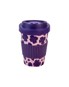Woodway coffee to go beker bamboe Pia bloemen - paars - 300 ml - 3830066921721