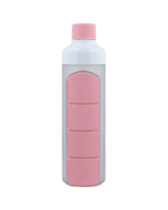 YOS Bottle - waterfles met pillendoos - 4 vaks - Roze - 8715195650634