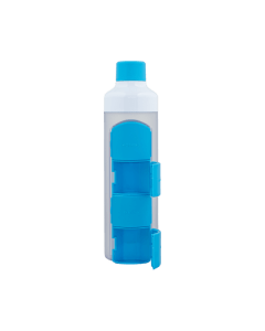 YOS Bottle - waterfles met pillendoos - 4 vaks - Blauw - 8715195650627