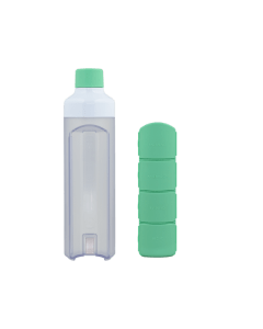 YOS Bottle - waterfles met pillendoos - 4 vaks - groen - 8715195650603