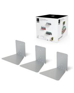 Umbra onzichtbare boekenplank Conceal groot - Set van 3 stuks zilver