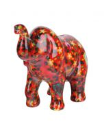 Pomme Pidou spaarpot olifant Zara - Rood met bloemen en vogelhuisjes - 106470