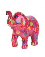 Pomme Pidou spaarpot olifant Zara - Fuchsia met sterren en bloemen - 106471