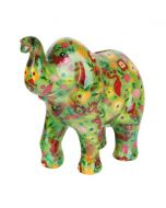 Pomme Pidou spaarpot olifant Zara - Groen met bloemen en flamingo's - 106472