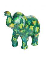 Pomme Pidou spaarpot olifant Zara - Groen met papegaaien - 106473