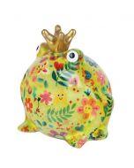Pomme Pidou spaarpot kikker Freddy - Groen met bloemen met gezichten - 107207