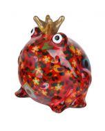 Pomme Pidou spaarpot kikker Freddy - Rood met bloemen en vogelhuisjes - 107205