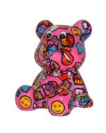 Pomme Pidou spaarpot beer Cyril - Roze met lippen en emoji - 107215
