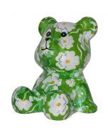 Pomme Pidou spaarpot beer Cyril - Groen met witte bloemen - 107214