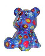 Pomme Pidou spaarpot beer Cyril - Blauw met sterren en bloemen - 107213