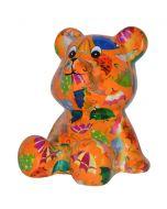Pomme Pidou spaarpot beer Cyril - Oranje met paraplu's - 107212