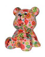 Pomme Pidou spaarpot beer Cyril - Roze met paddestoelen - 107210