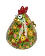 Pomme pidou spaarpot kip Matilda - Groen met bloemen en flamingo's - 107219