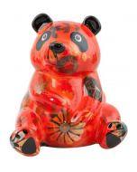 Pomme Pidou spaarpot panda Zsa Zsa - Oranjerood met bloemen - 107782