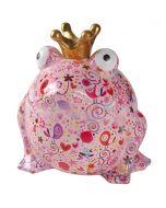 Pomme Pidou spaarpot kikker Freddy XL Roze met bloemen en harten - 108287