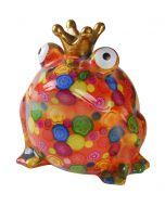 Pomme Pidou spaarpot kikker Freddy XL Oranje met gekleurde stippen - 108286