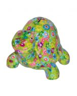 Pomme Pidou spaarpot schildpad Quickie - Groen met bloemen - 103313