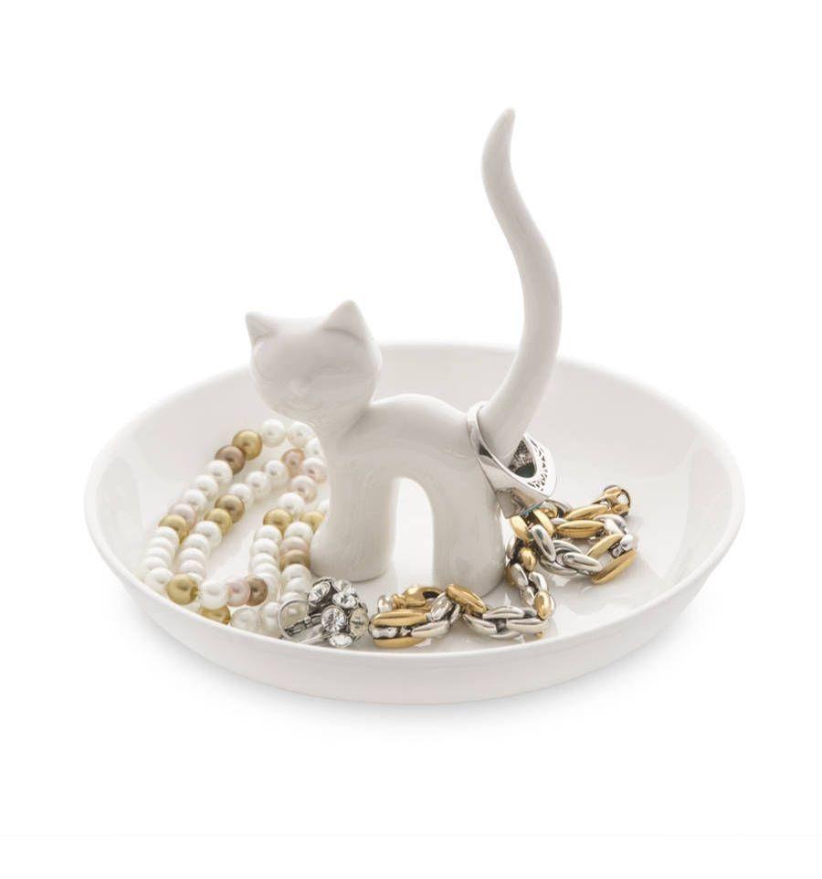 Afbeelding van Balvi ringhouder XL kat op schaaltje Gatto wit