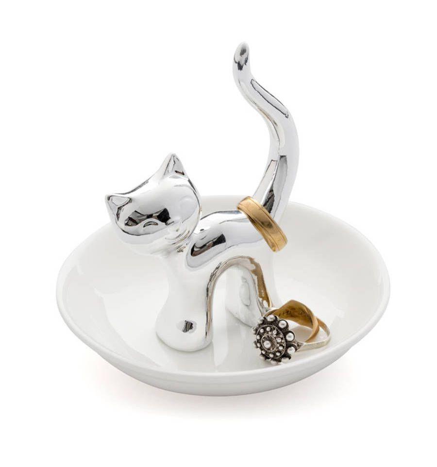 Afbeelding van Balvi ringhouder kat op schaaltje Gatto wit met zilver