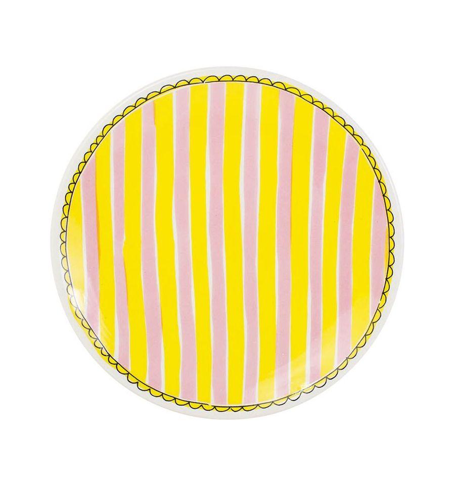 Afbeelding van Blond Amsterdam bord 22 cm stripe Even bijkletsen